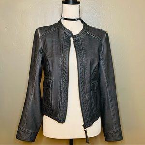 Anthropologie Hei Hei faux leather bomber jacket